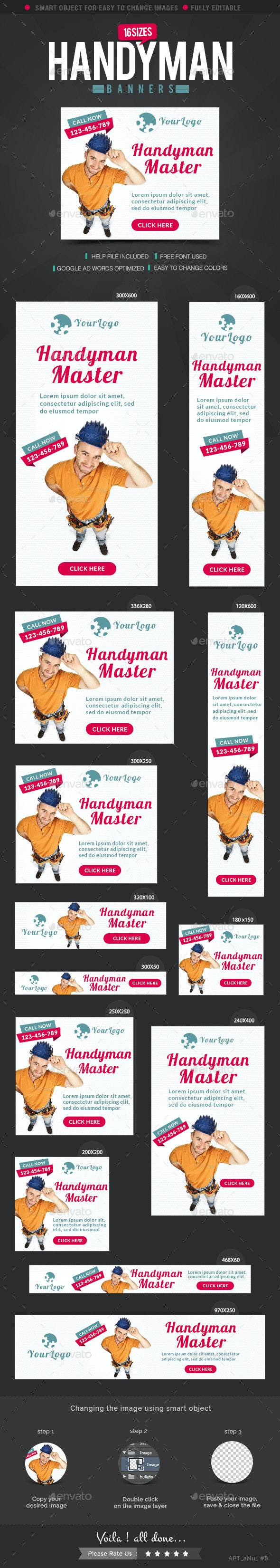 Handyman Service Banners - Banners & Ads Web Elements