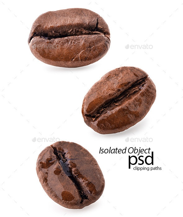 Coffee Beans, Macro - Food & Drink Isolated Objects