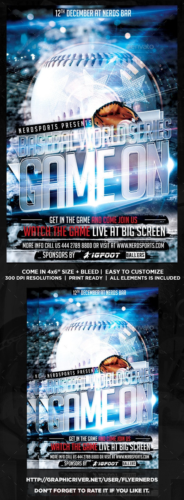 Game On Baseball Flyer - Sports Events