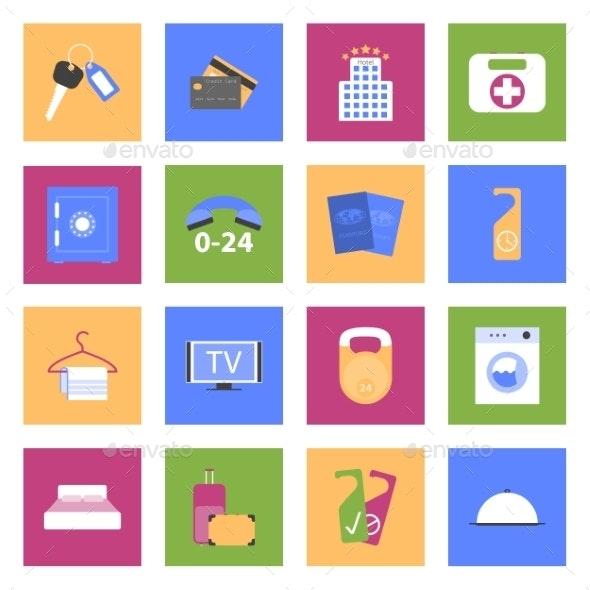 Hotel Flat Icons Set - Miscellaneous Conceptual