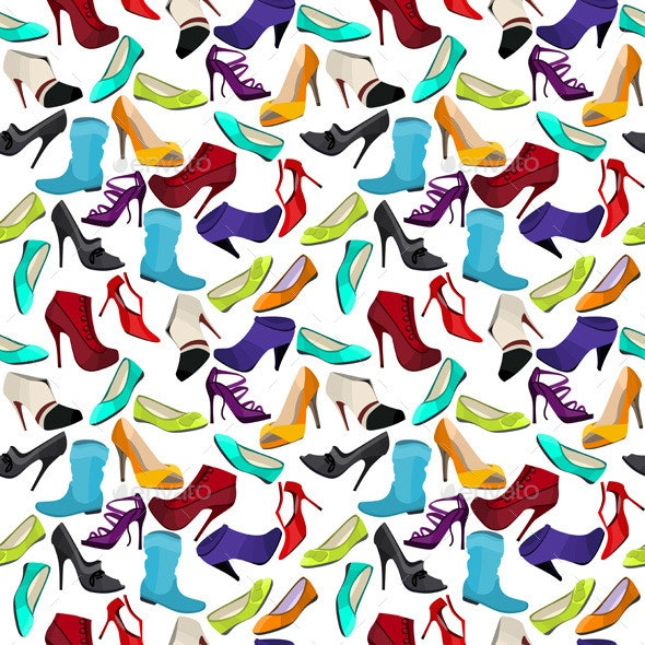 Seamless Pattern with Different Shoes - Man-made Objects Objects