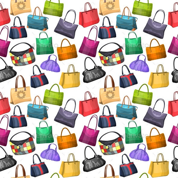 Seamless Pattern with Women's Bags - Man-made Objects Objects