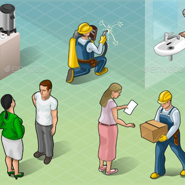 Isometric Services People in Some Positions