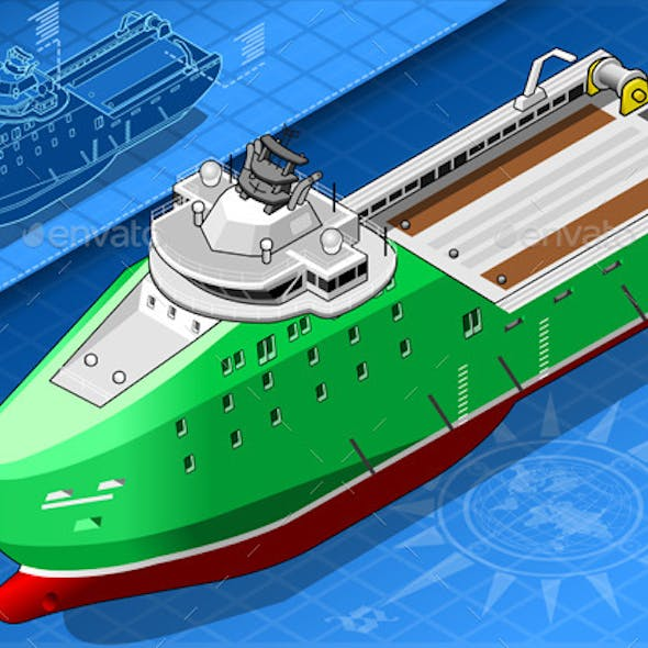 Isometric Ship Breaking the Ice in Front View