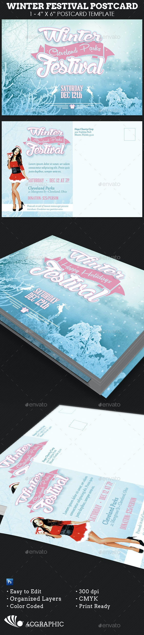 Winter Festival Postcard Template  - Holidays Events