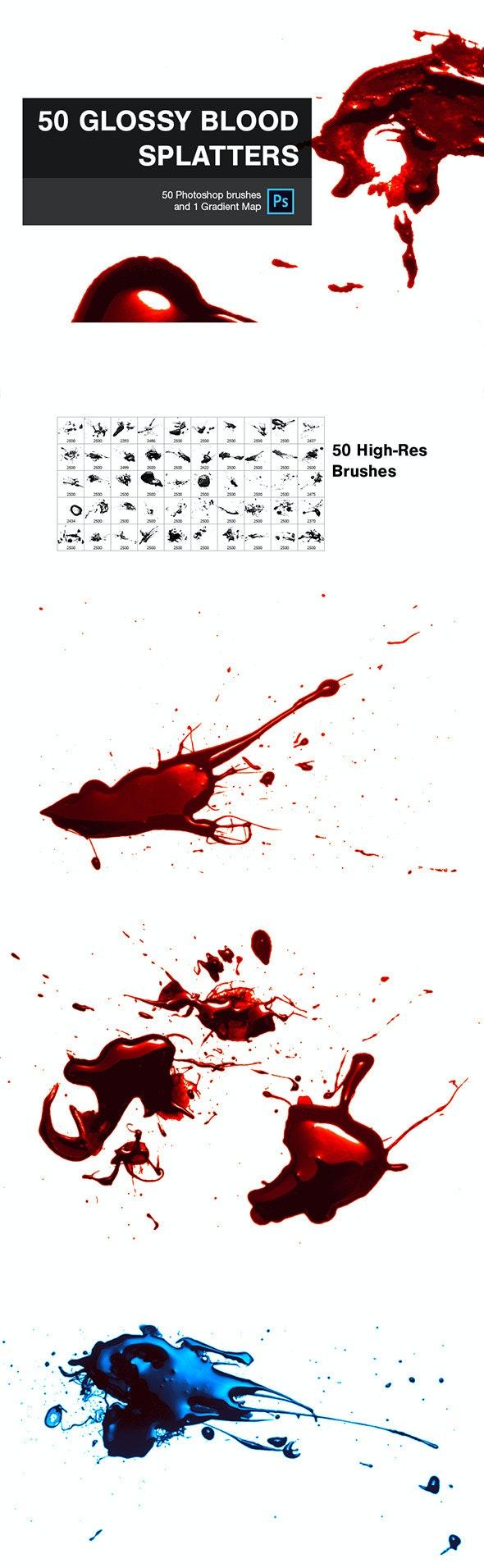 50 Glossy Blood Splatters - Grunge Brushes