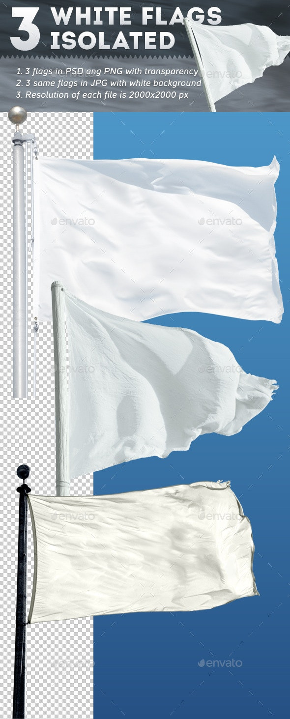 3 White Flags Isolated - Miscellaneous Isolated Objects