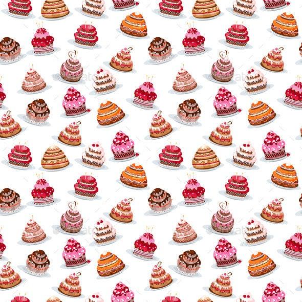 Seamless Pattern with Birthday Cakes - Birthdays Seasons/Holidays