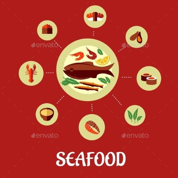 Seafood Flat Infographic Design
