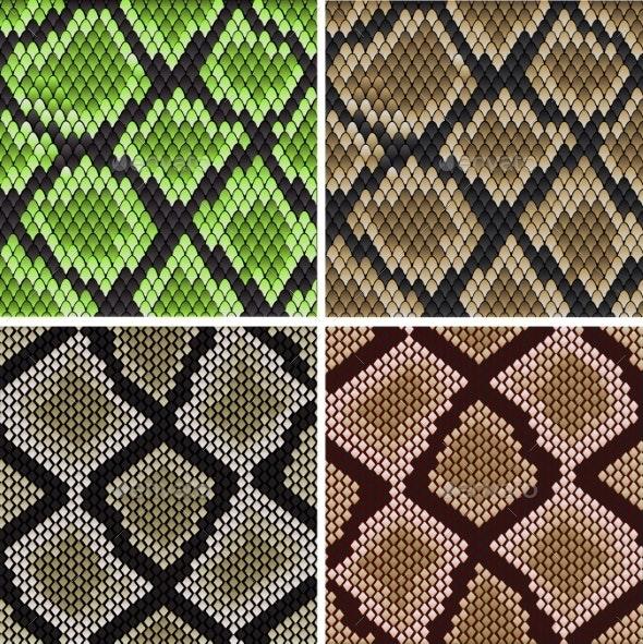Seamless Snake Skin Patterns - Backgrounds Decorative