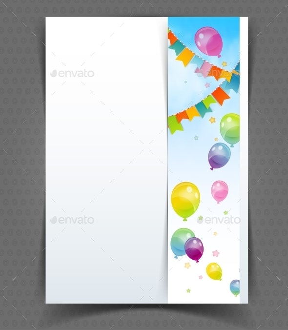Party Banner with Flags and Balloons - Birthdays Seasons/Holidays