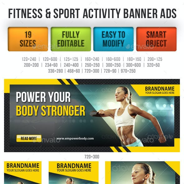 Fitness & Sport Activity Banner Ads