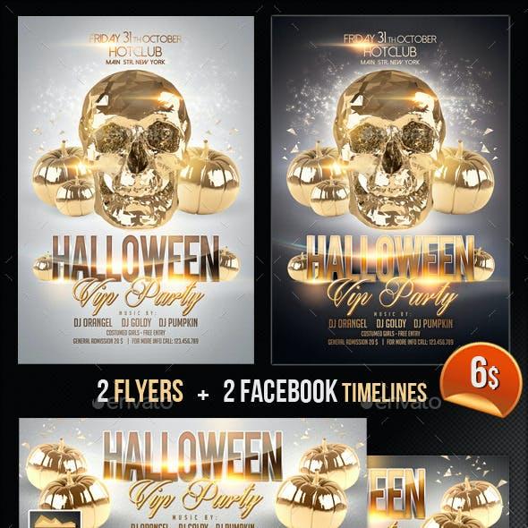 Halloween Flyer + Fb Timeline Vip Party