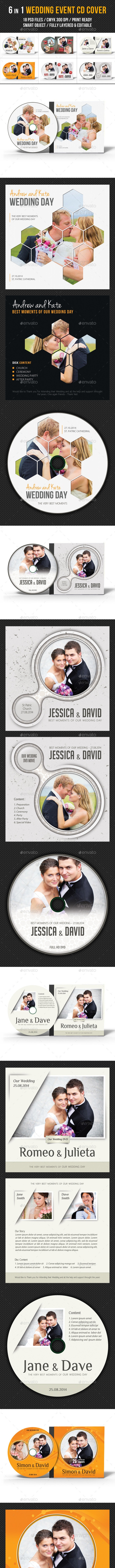 6 in 1 Wedding Event CD Cover Template Bundle - CD & DVD Artwork Print Templates