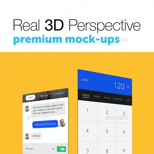 6 Real 3D Perspective Mock-Ups Phone 6 & 6+ Edition
