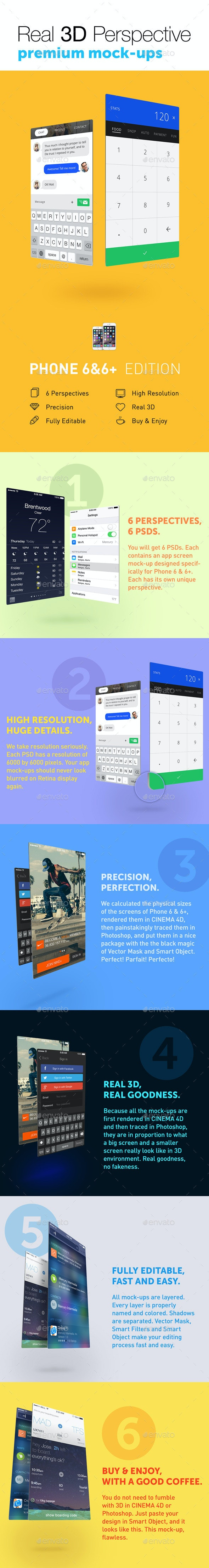 6 Real 3D Perspective Mock-Ups Phone 6 & 6+ Edition - Mobile Displays