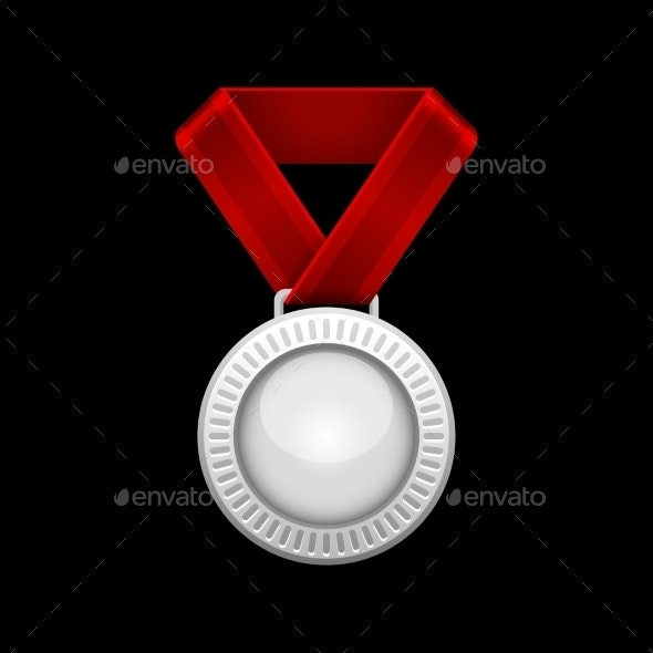 Silver Medal with Red Ribbon - Sports/Activity Conceptual