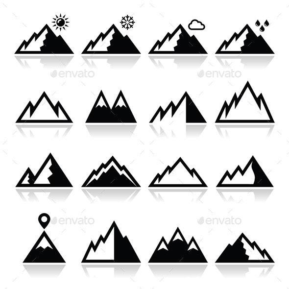 Mountains Vector Icons Set - Landscapes Nature