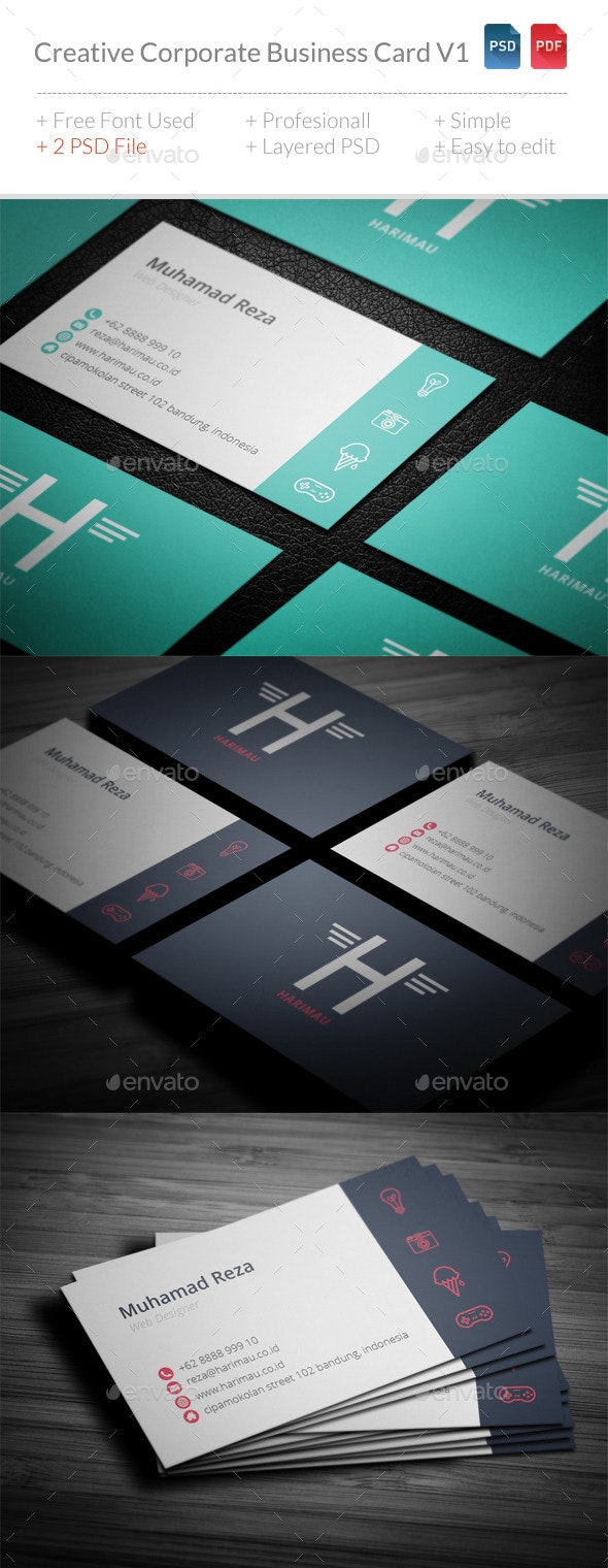 Creative Corporate Business Card V1 - Corporate Business Cards