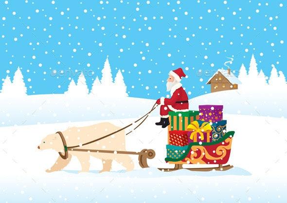 Santa Claus Delivering Presents - Christmas Seasons/Holidays