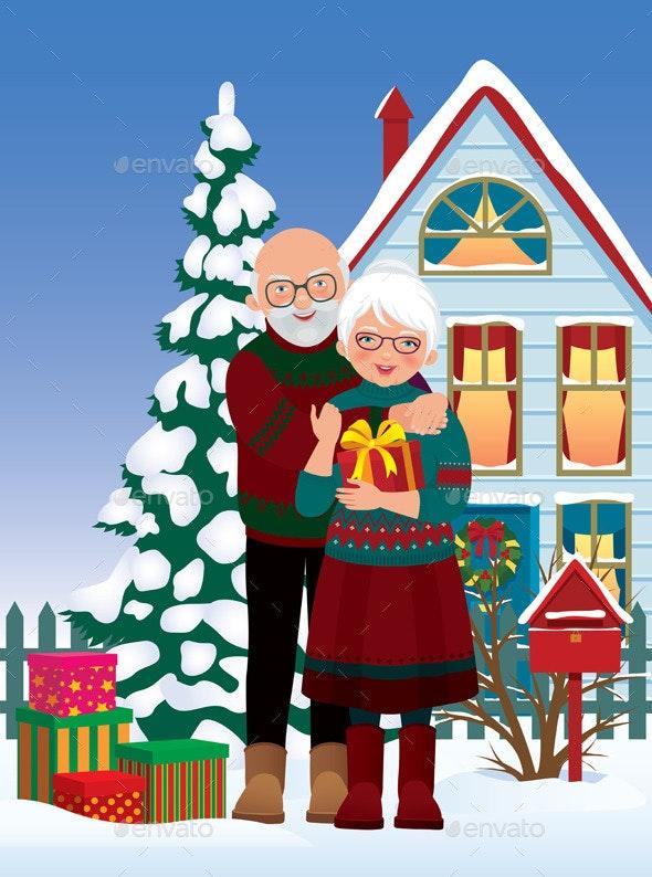 Elderly Couple Getting Gifts at Christmas - Christmas Seasons/Holidays