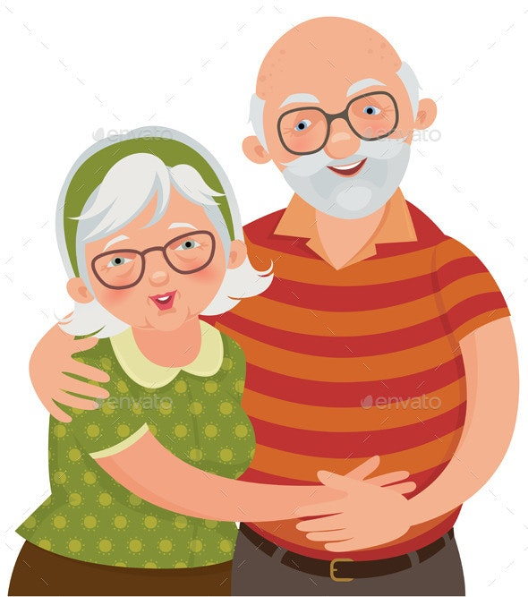 Happy Old Couple - People Characters