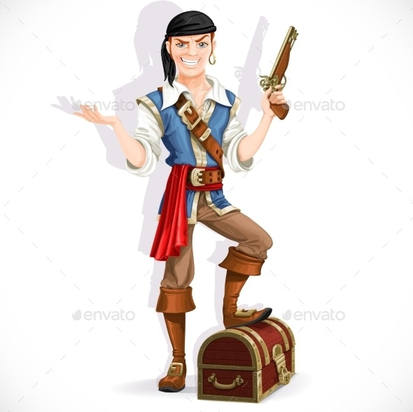 Cute Pirate with Pistol and Chest  - People Characters