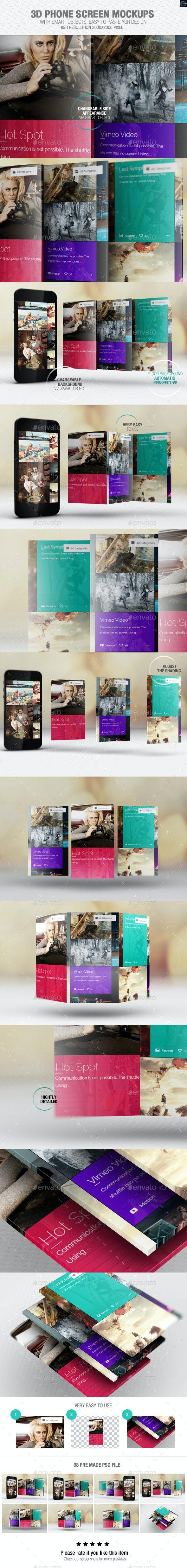 3D Phone Screen Mockups - Mobile Displays