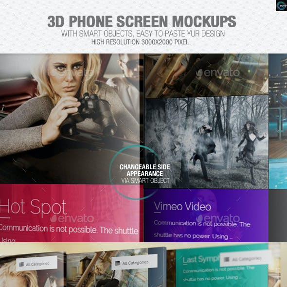 3D Phone Screen Mockups