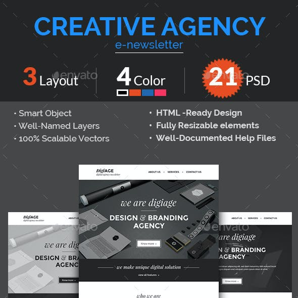 Creative Agency / Multipurpose E-newsletter PSD Te