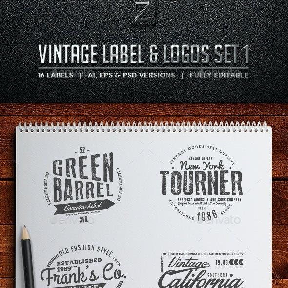 Vintage Badges & Labels Set 1