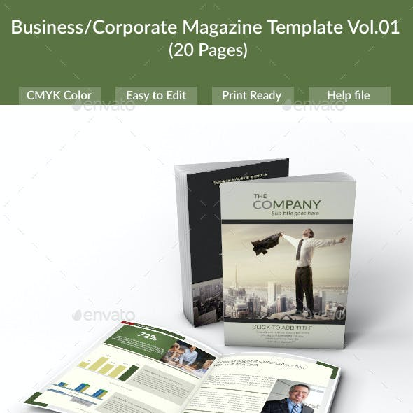 Business/Corporate Magazine Template (20 Pages) - Vol.01