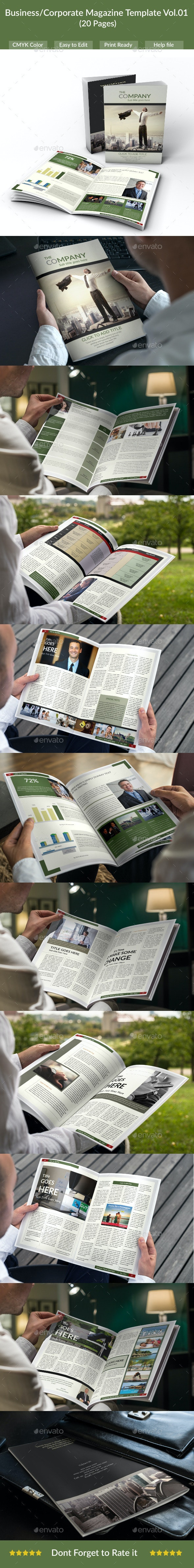 Business/Corporate Magazine Template (20 Pages) - Vol.01 - Magazines Print Templates