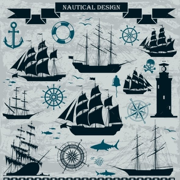 Set of Sailing Ships with Nautical Elements
