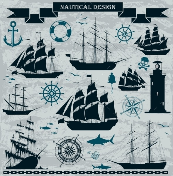 Set of Sailing Ships with Nautical Elements - Travel Conceptual