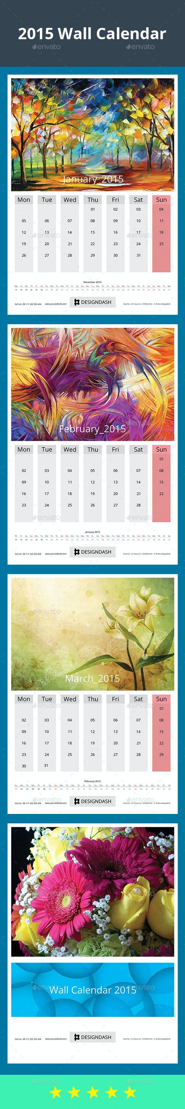 2015 Wall Calendar Design - Stationery Print Templates