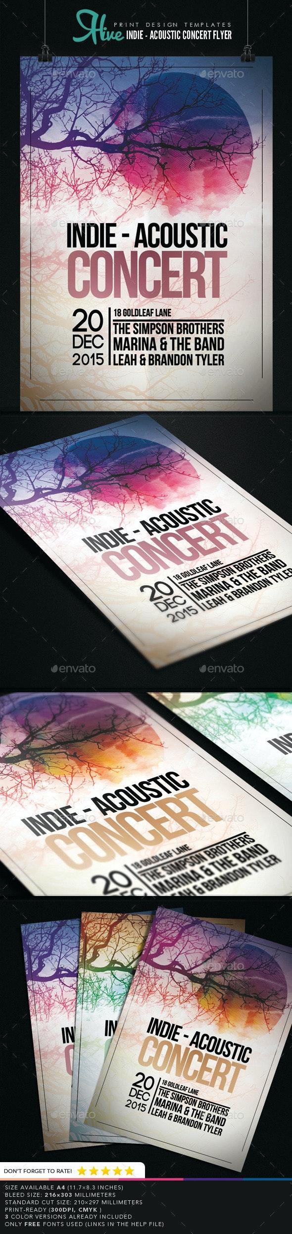 Indie - Acoustic Concert Flyer  - Concerts Events
