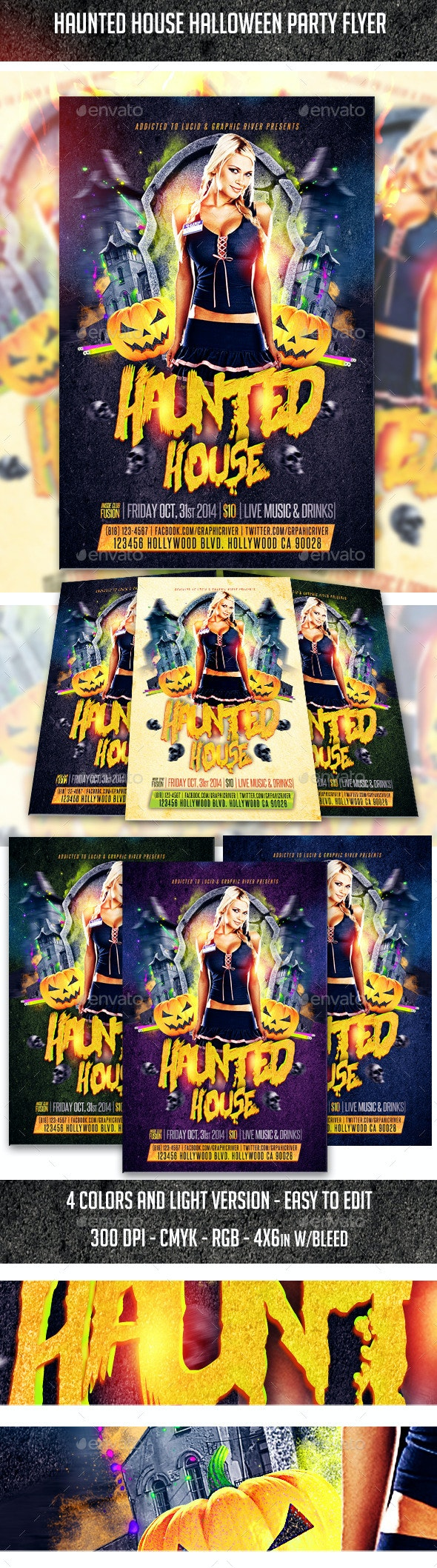 Haunted House Halloween Flyer - Clubs & Parties Events