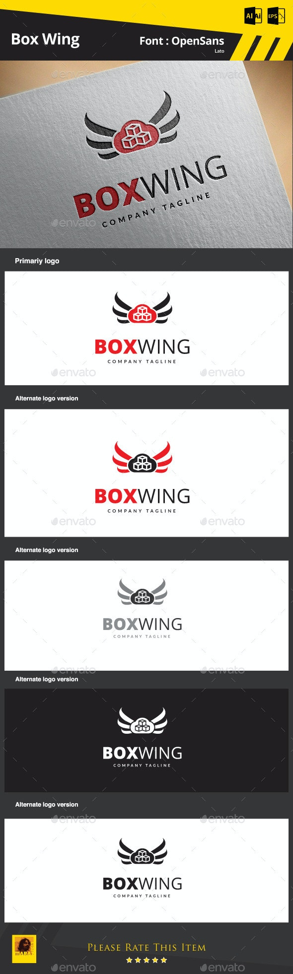 Box Wing - Objects Logo Templates