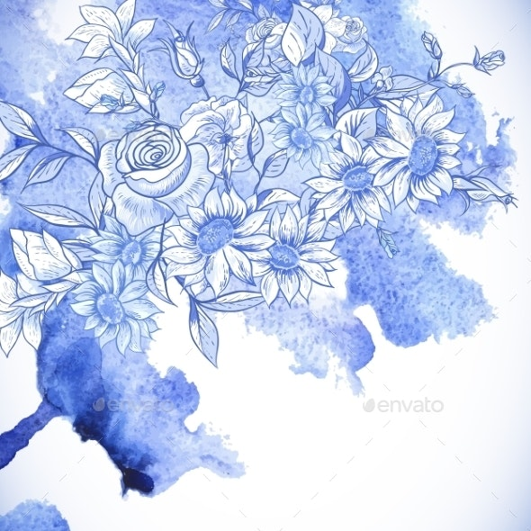Vintage Blue Greeting Card with Flowers  - Patterns Decorative