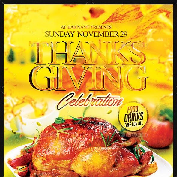 Thanksgiving Celebration   Flyer Template PSD