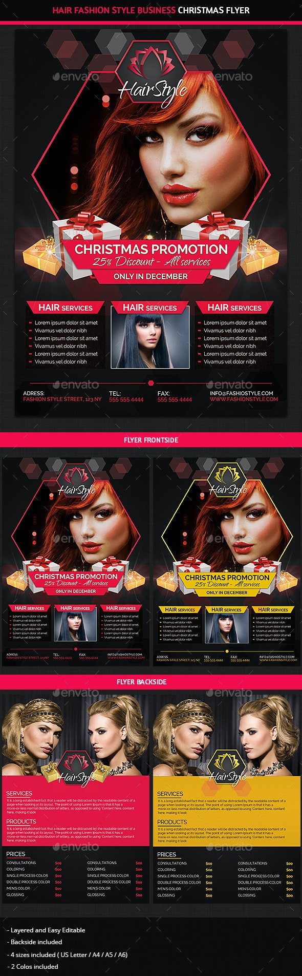 Hair Salon Christmas Promotions Commerce Flyer - Commerce Flyers