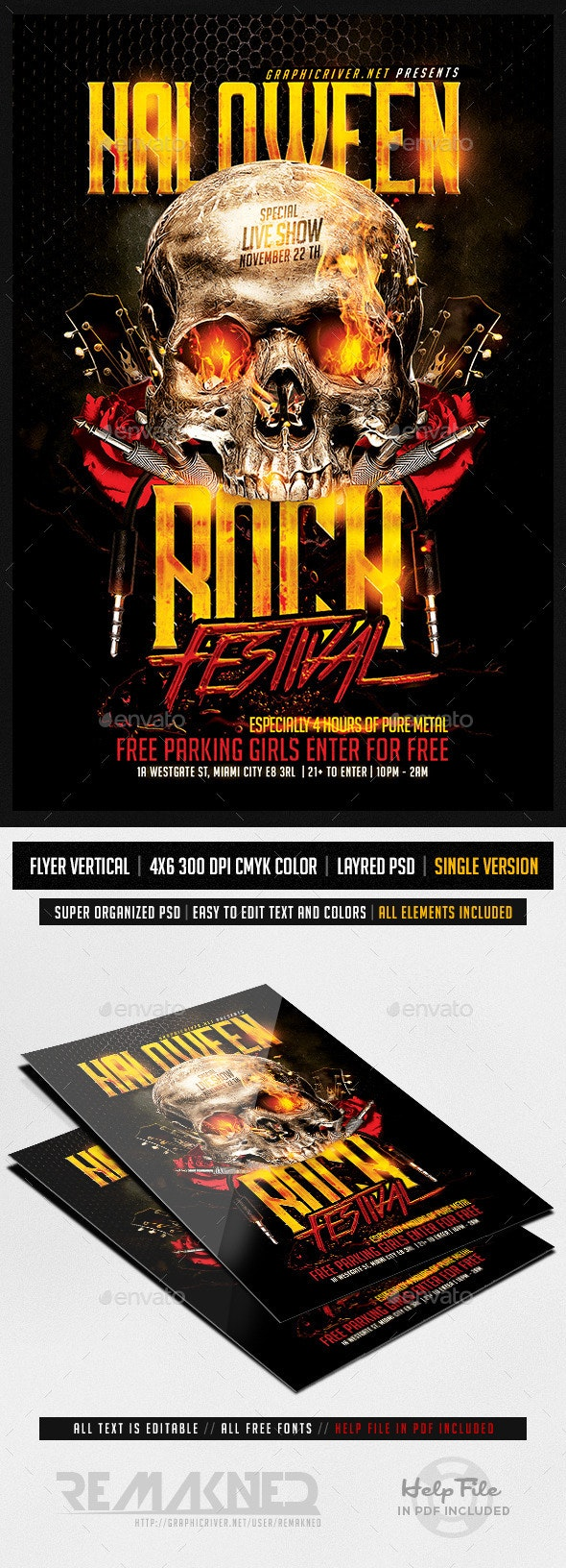 Halloween Rock Festival   Flyer Template PSD - Flyers Print Templates
