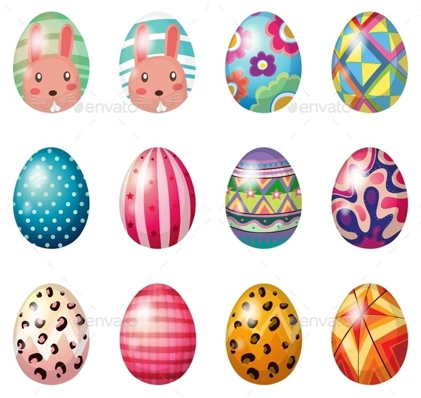 Easter Eggs with Colorful Designs - Man-made Objects Objects