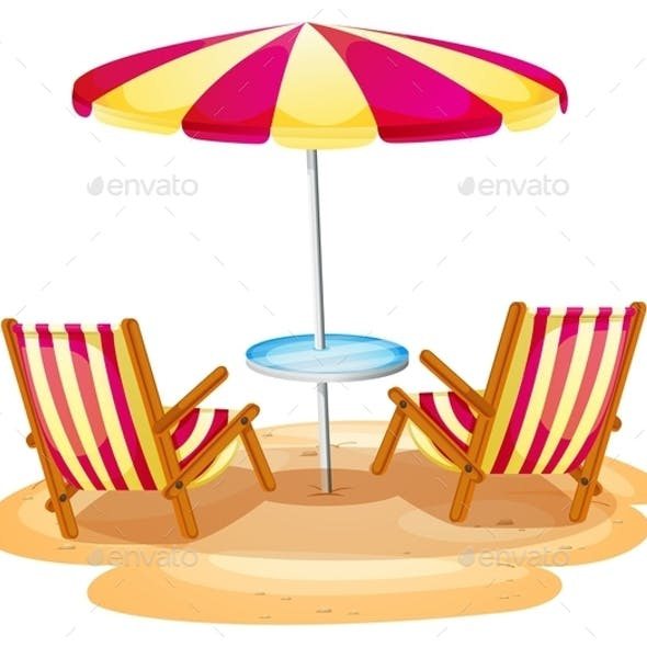 Stripe Beach Umbrella and Chairs