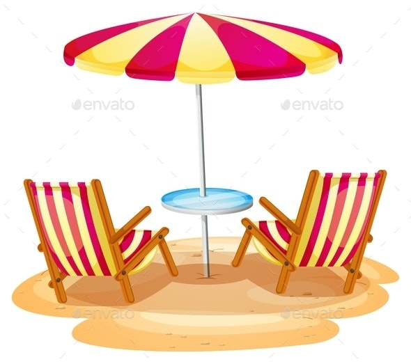 Stripe Beach Umbrella and Chairs - Man-made Objects Objects