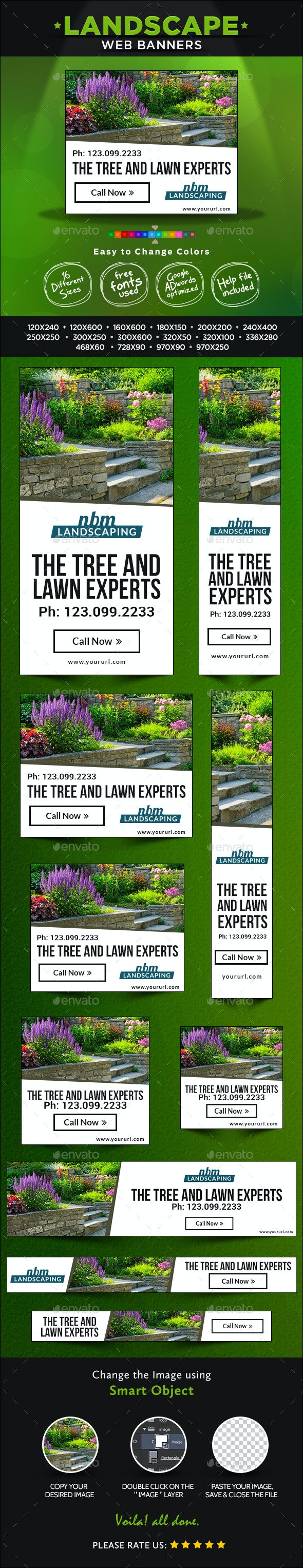 Landscaping Company Banner Design Set - Banners & Ads Web Elements