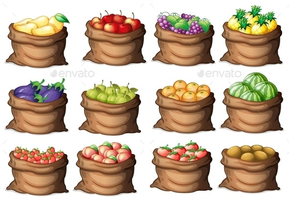 Sacks with Different Fruits - Food Objects