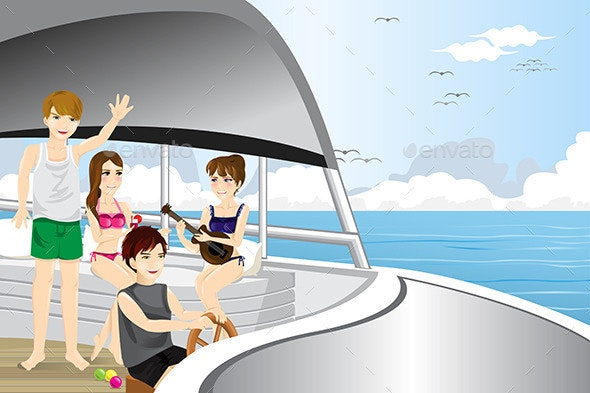Young People Riding a Motor Boat - Travel Conceptual