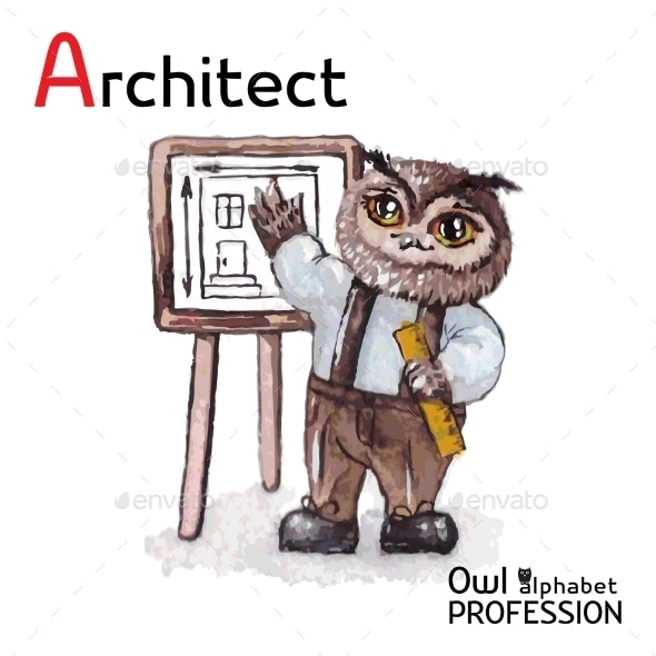 Alphabet Professions Owl Architect Character - Animals Characters